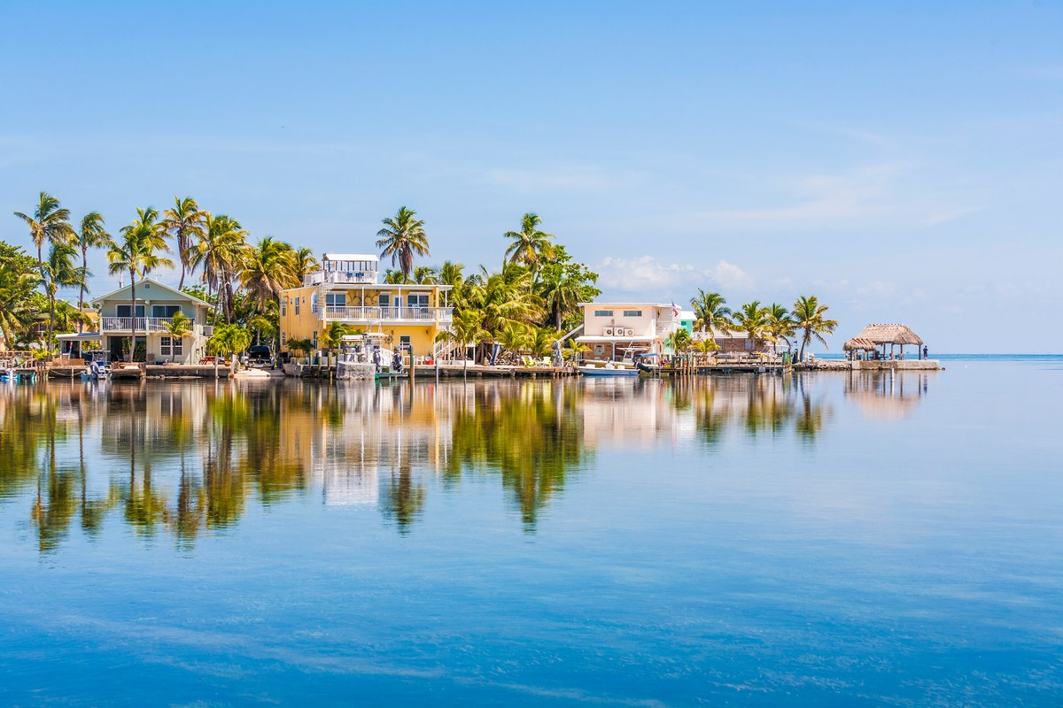 Colourful homes on the water with palm trees