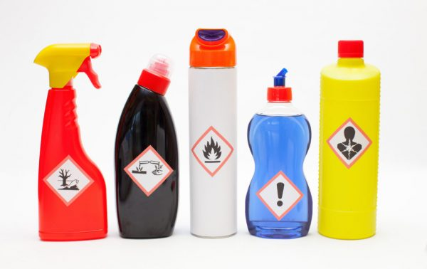 harmful cleaning chemicals in plastic bottles