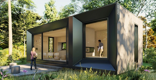 A couple viewing a pre-made tiny home